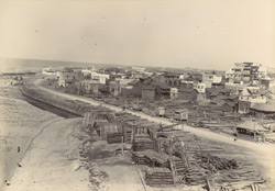 [View of timber yards on the sea front] Veraval